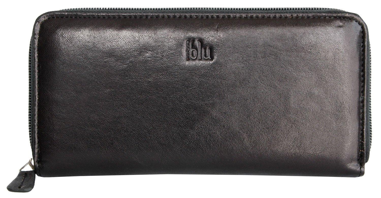 Billetera Blu Navigare negro zip-alrededor de cuero genuino de calidad