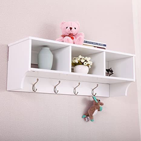 Coat Rack Wall Mounted With Shelf Entryway Hooks Storage Mudroom Cubby Hallway