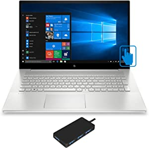 "HP Envy 17t-cg000 Home and Entertainment Laptop (Intel i7-1065G7 4-Core, 16GB RAM, 256GB PCIe SSD + 1TB HDD, NVIDIA MX330, 17.3"" Touch Full HD (1920x1080), Fingerprint, Win 10 Home) with USB Hub"