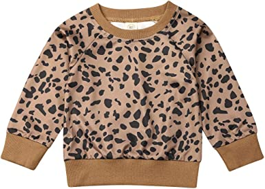 Toddler Baby Girls Boys Leopard Print T-Shirt Sweater Coat Tops Pants Outfits US