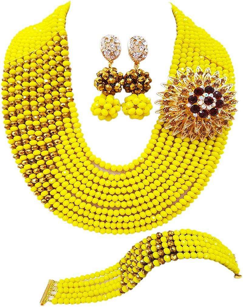 laanc 10filas amarillo y dorado champán boda nigeriano cuentas africanos conjuntos de joyas pulsera con cuentas de cristal para collar pulsera pendientes