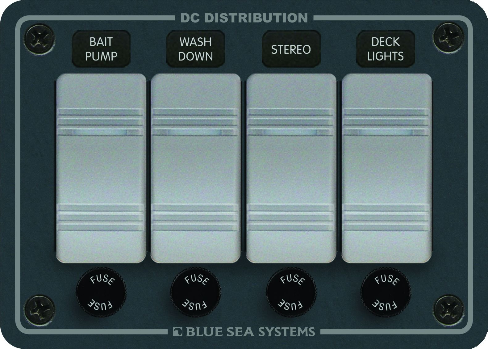 Blue Sea Systems Contura Water Resistant 12V DC Panel - 4 Position