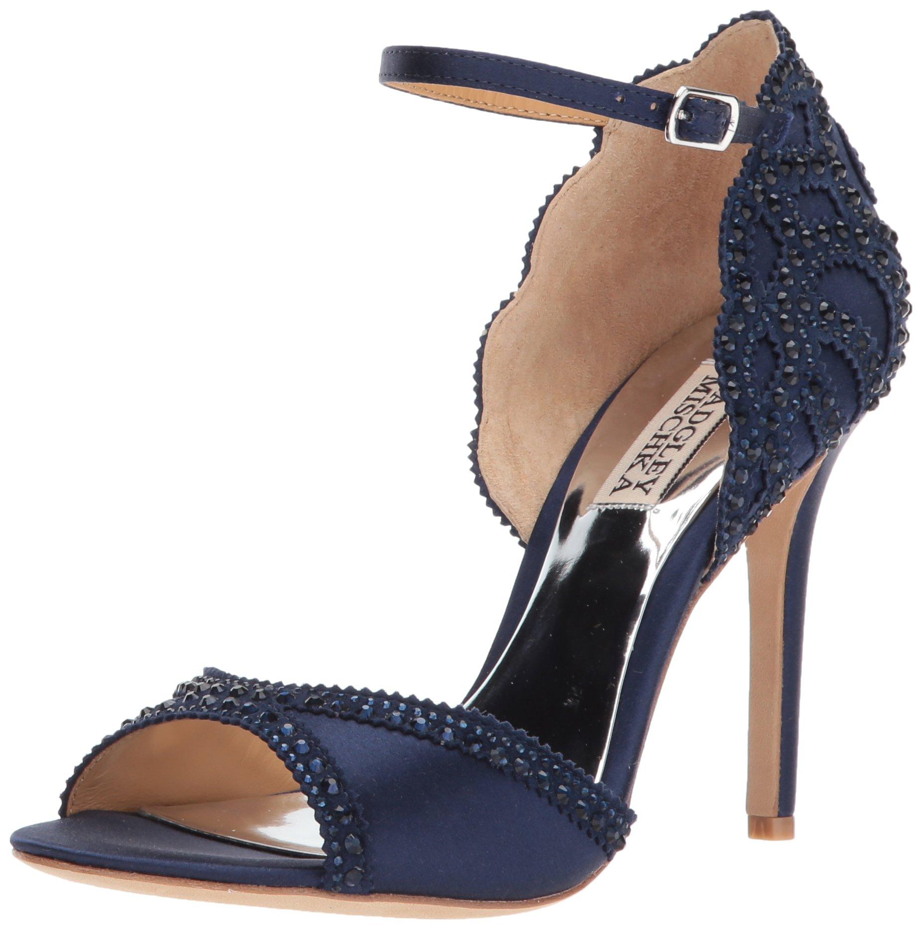 Badgley Mischka Women's Roxy Heeled Sandal, Midnight, 8 M US