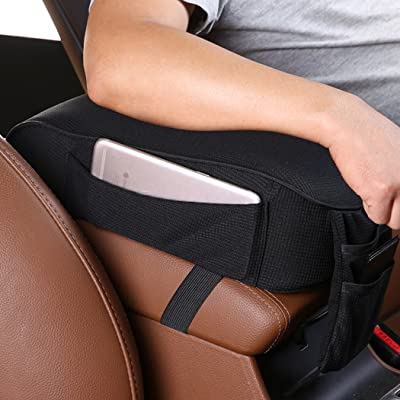 MLOVESIE Auto Center Console Armrest Pillow, Memory Foam Car Armrest Cushion with Phone Holder Storage Bag Universal Fit for Most Car (Black): Automotive
