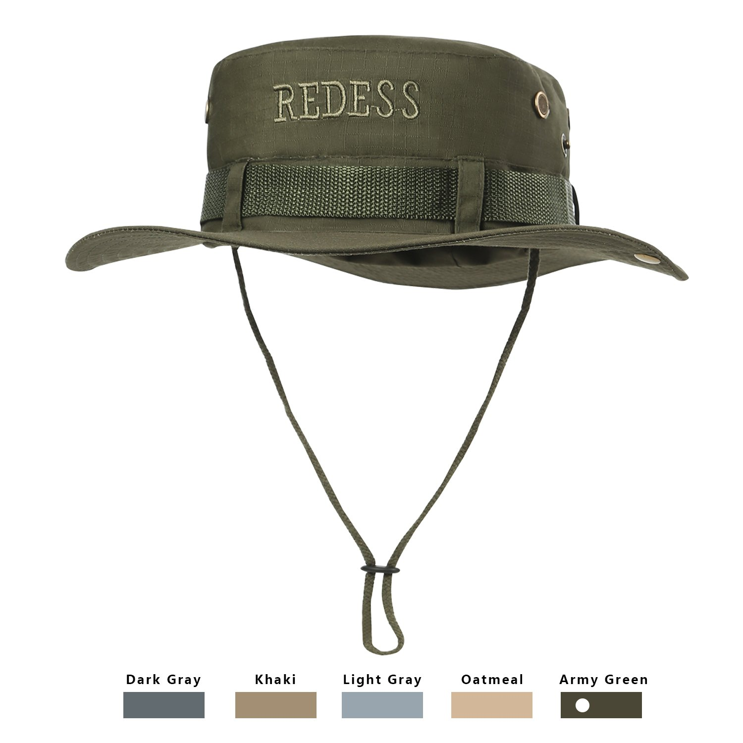 3292d7886d614 REDESS Waterproof Boonie Sun Fishing Hat Outdoor UPF 50 Protection UV  Protection Hat for Men   Women With Adjustable Chin Strap   Breathable for  Hiking