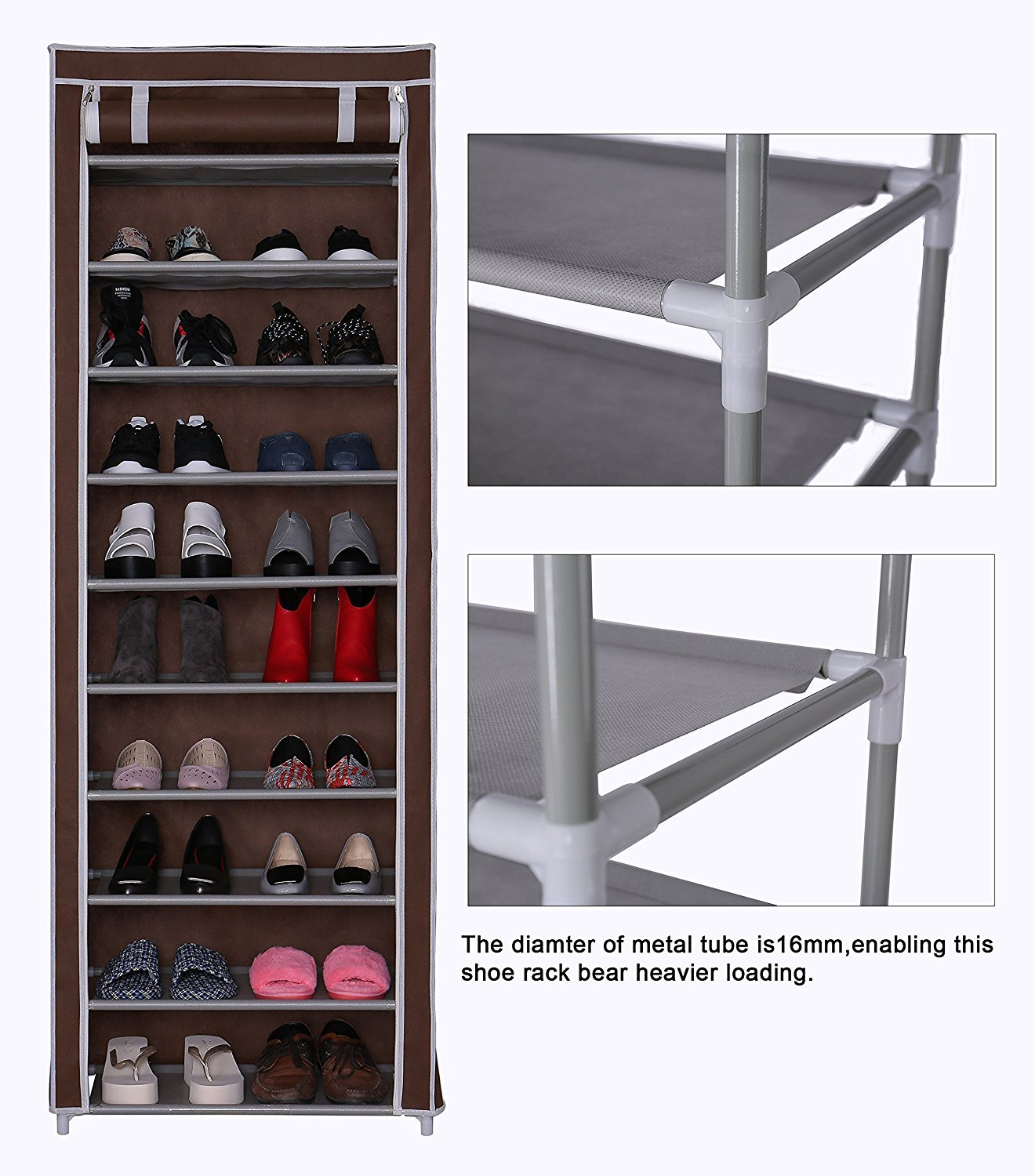 Amazon.com: Homebi 10-Tier Shoe Rack 30 Pairs Shoe Tower Closet Shoes  Storage Cabinet Portable Boot Organizer with Dustproof Non-woven Fabric  Cover and 10 ...