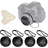 Lens Cap Bundle, Pasway 4 Pcs Lens Caps with Keeper Leash & Cleaning Cloth for Canon, Nikon, Sony and Any Other DSLR Camera 58mm