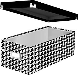 """Snap-N-Store DVD Storage Box, 6"""" x 8.25"""" x 16.5"""", Holds up to 26 DVDs in Cases, Houndstooth (SNS03318)"""