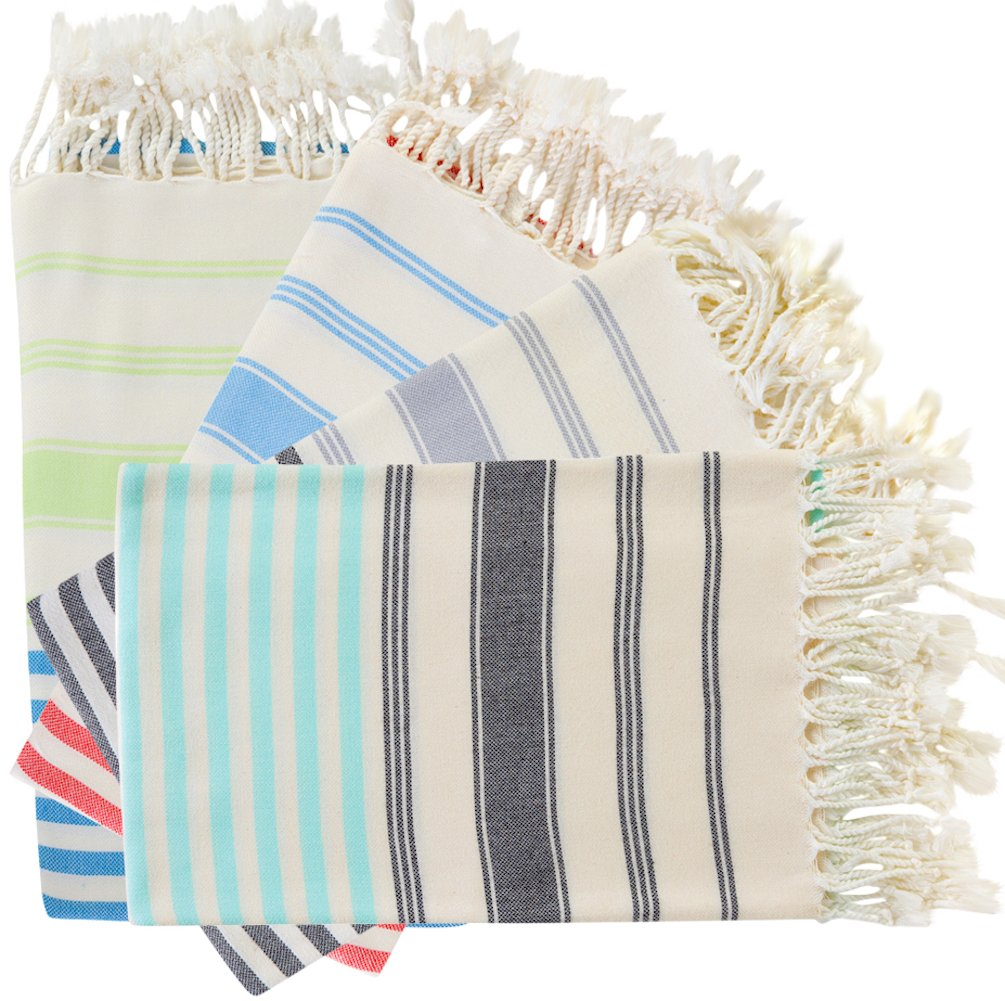 *SALE - SET of 4 Brightest Diamond Weave XL Turkish Cotton Bath Beach Spa Sauna Hammam Travel Yoga Gym Yacht Hamam Towel Sheet Wrap Pareo Fouta Sarong Peshtemal Pestemal Blanket Bosphorus