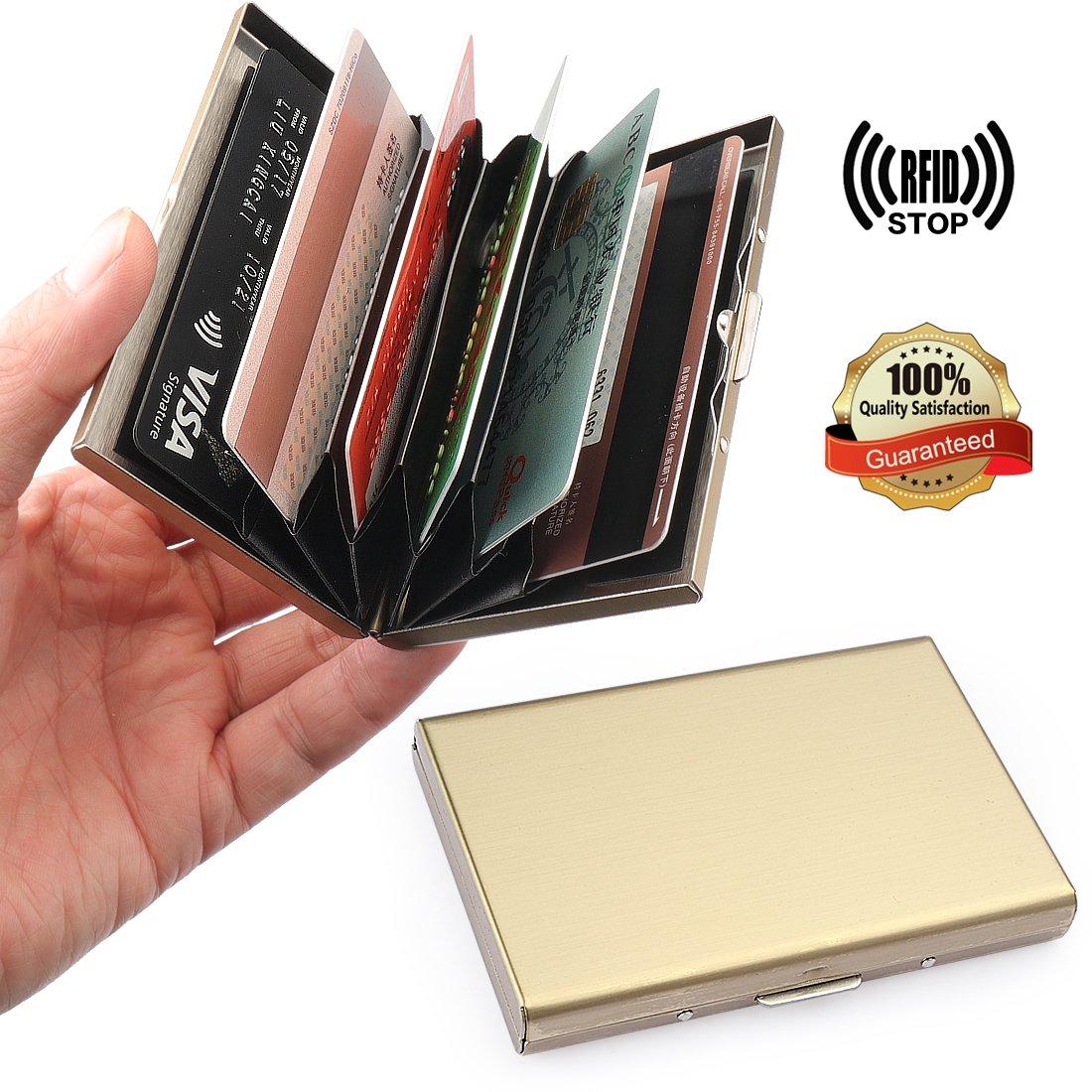 YOBANSA Porta biglietti da visita e carte di credito, in acciaio inox, per uomini e donne Gold