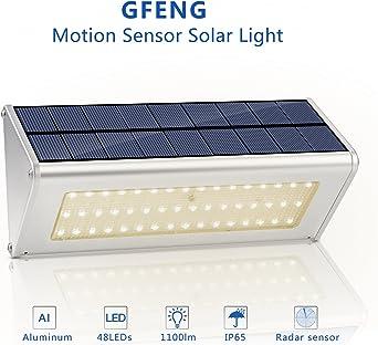 GFeng - Luces LED solares de aleación de aluminio con sensor de movimiento, luces solares impermeables para