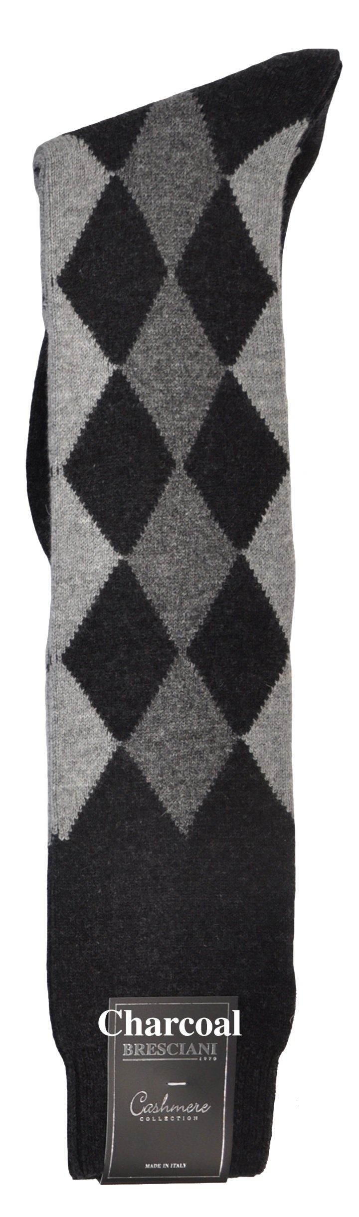 Pure Cashmere Argyle Harlequin-Diamond Knee High Socks - One Pair Charcoal Large