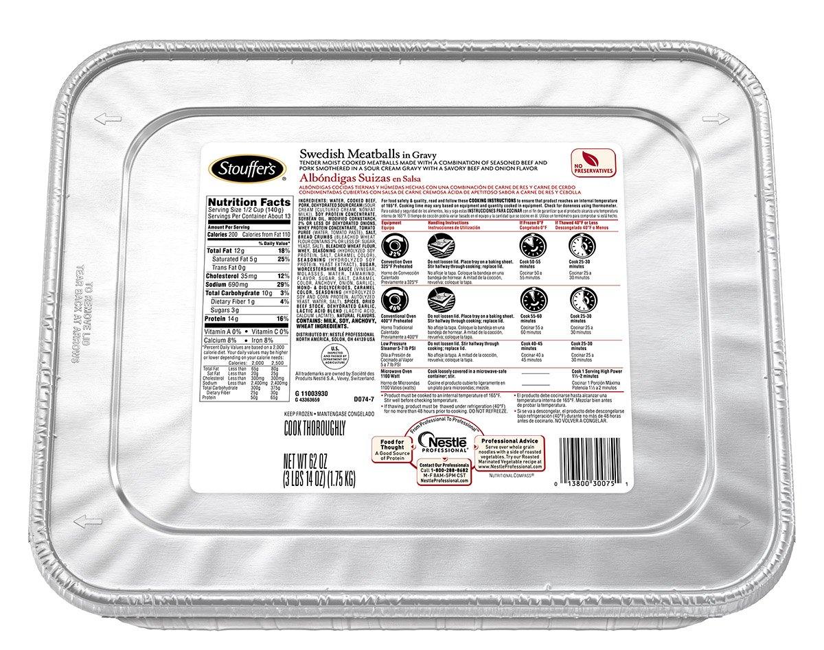 Stouffer's Swedish Meatballs in Gravy, 62 oz., (Pack of 4)
