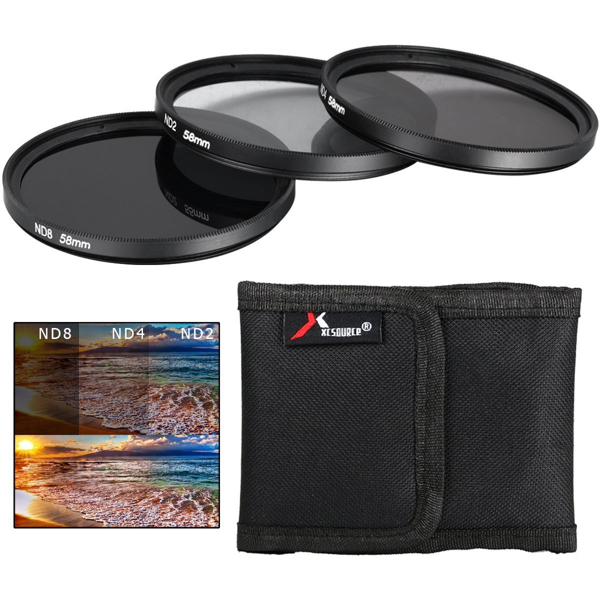 XCSOURCE® 58mm ND2 ND4 ND8 Neutral Density Filter Set for Canon Rebel XS T5i T4i T3i T2i T1i T3 6D 7D 70D 60D 700D 650D 1100D 1000D 600D 50D 550D 500D 40D 30D 350D 400D 450D 100D LF62 ElectricalCentre LF062