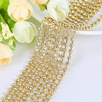 USIX 10 Yards Crystal Rhinestone Close Chain Trimming Claw Chain Multi Size Color Rhinestone Chain for DIY Arts Craft Sewing Jewelry Making SS16//4.0MM Crystal-Gold Chain