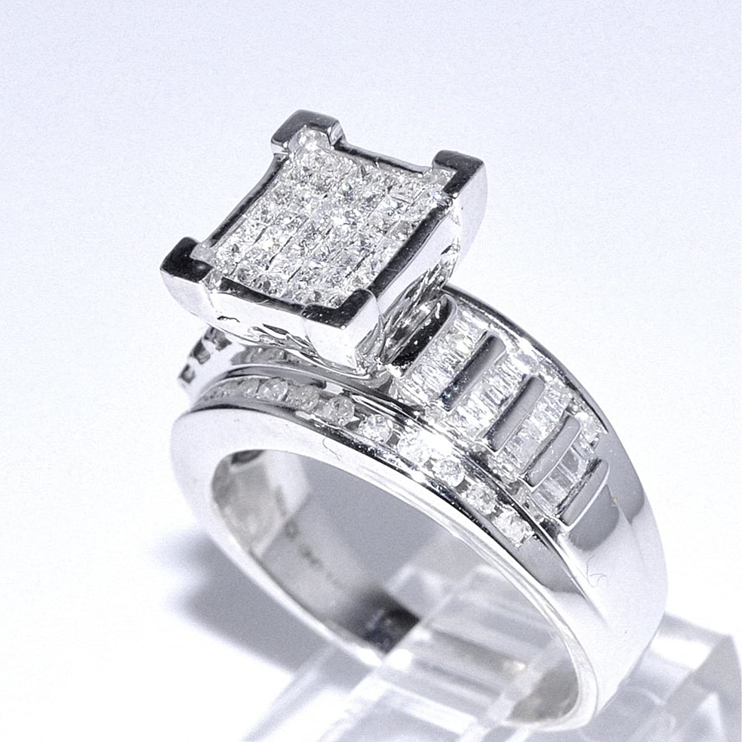 wedding white princess ring bridal set rings cut ct diamond products gold engagement