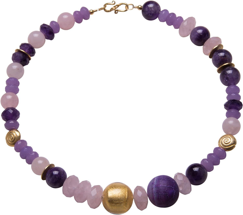 Collar de cuarzo rosa, amatista, ágata de serpiente, cristal de Murano, diseño de Malena, chapado en oro, piedras preciosas, hecho a mano, cadena de diseño