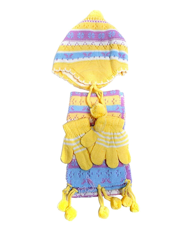 Hat /& Scarf Set Gap StyleGirls Peruvian Pom-Pom 3-Piece Glove