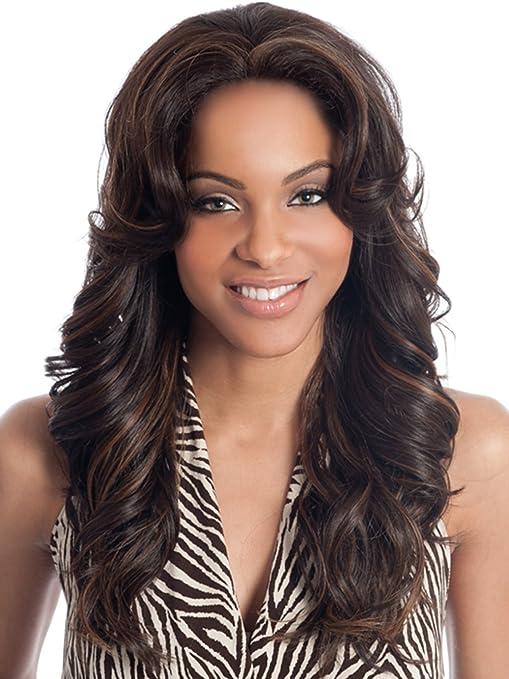 Moda largo luz marrón y negro Mezcla mujeres peluca resistente onda rizado sintético peluca