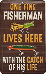 Open Road Brands One Fine Fisherman, Brown Vintage Embossed Tin Metal Wall Art Sign - an Officially Licensed Product Great Addition to Add What You Love to Your Home/Garage Decor