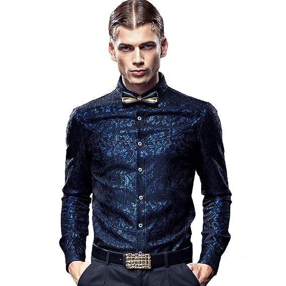 FANZHUAN Camisas Slim Fit Hombre Black Camisas Hombre Vestir ...