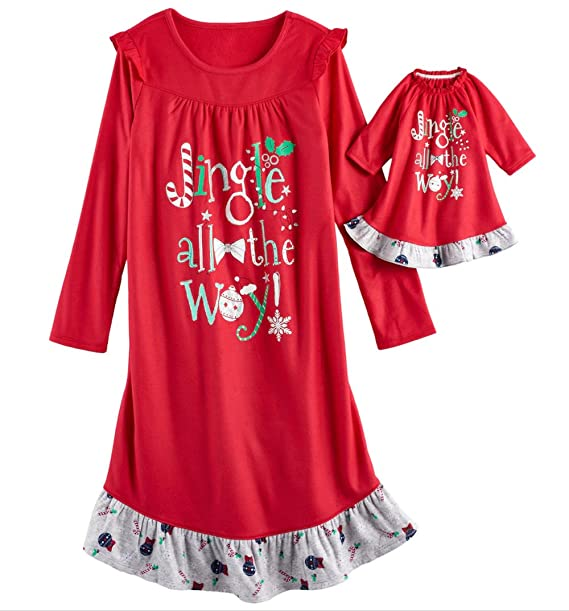Amazon.com  So Little Girls  Holiday Fleece Nightgown with Matching 18 inch  Doll Pajamas  Clothing d71302e9e
