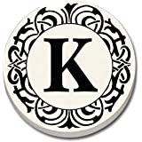 """CounterArt 'Initially Yours' Absorbent Stoneware Car Coaster, Monogrammed """"K"""""""