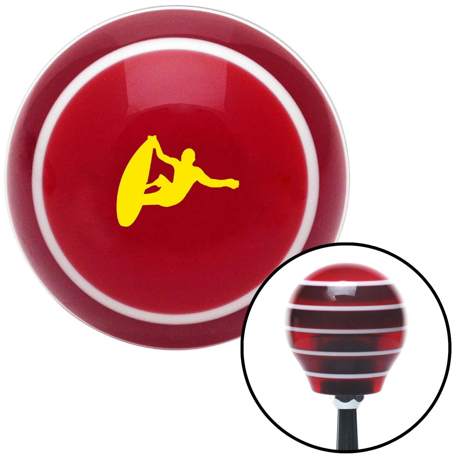 Yellow Surfer Catching A Wave Red Stripe with M16 x 1.5 Insert American Shifter 273734 Shift Knob
