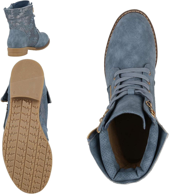 SCARPE VITA Damen Schnürstiefeletten mit Blockabsatz Spitze Zipper Blau Spitze