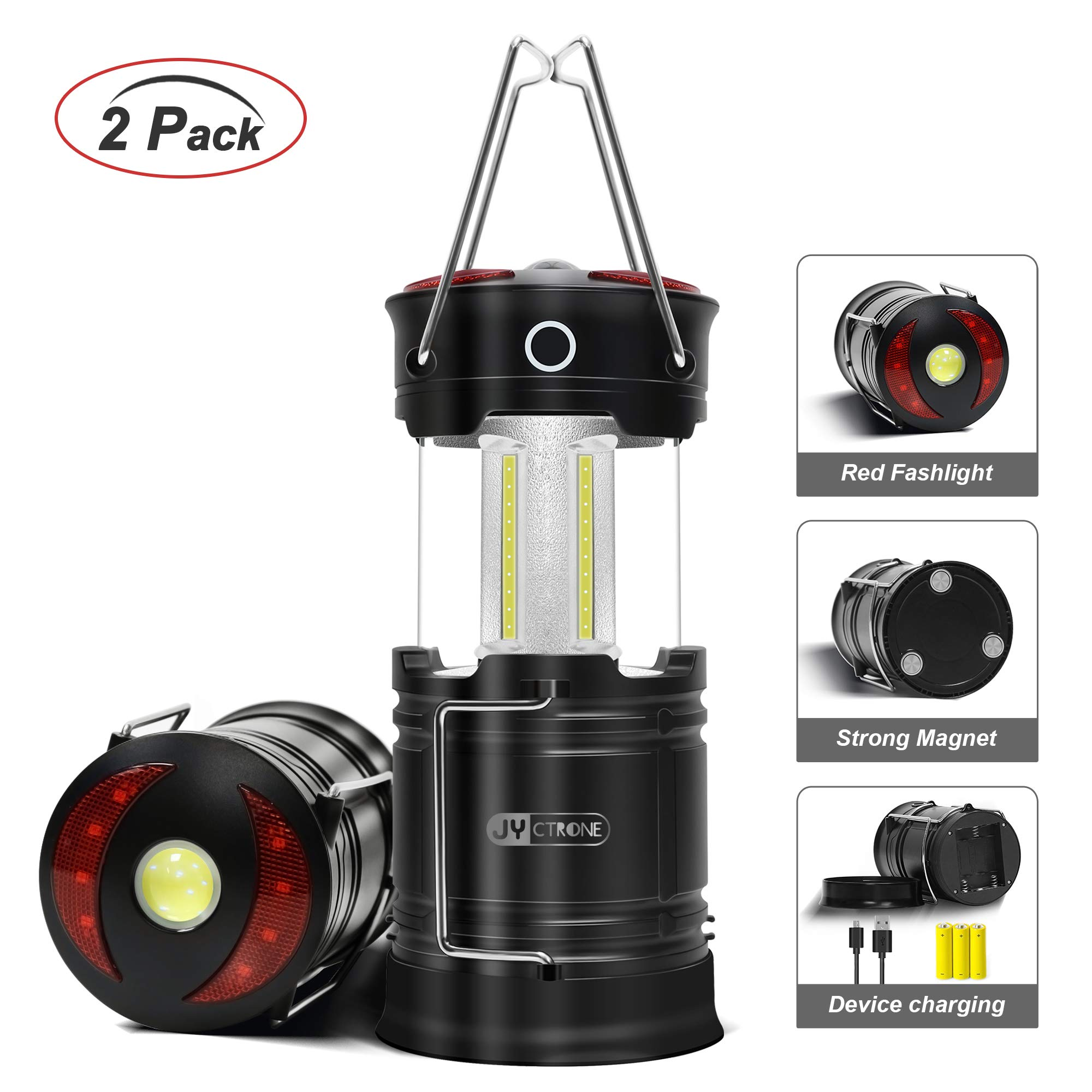 Rechargeable LED Camping Lantern, JYctrone 2019 Newest Magnetic Lantern with USB Cable, Portable Waterproof COB Tent Light 4-In-1 Flashlight Best for Emergency, Hurricane, Power Outage - 2 pack by JYctrone
