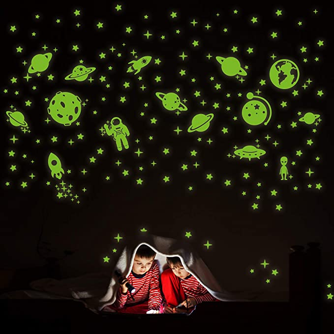 Glow in The Dark Stars for Ceiling lzndeal 200 Pcs Stars for Ceiling Kids Room Decor for Girls and Boys 3D Glow Stars and Moon for Starry Sky.