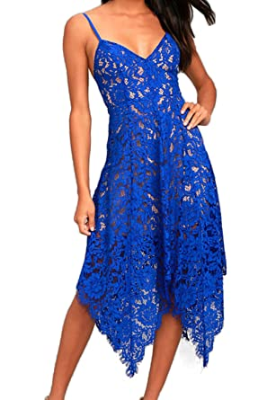 Allimy Women Sexy V Neck Bridesmaid Lace Midi Dress Cocktail Party