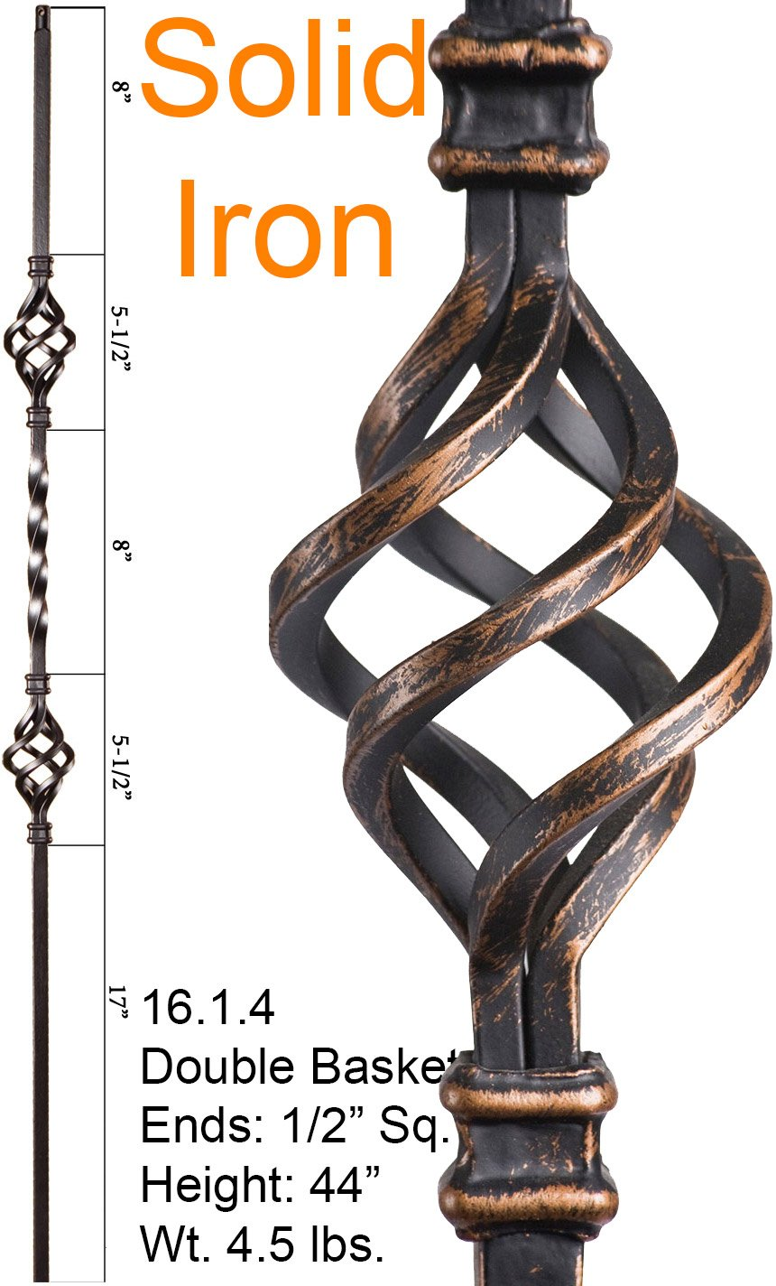 Oil Rubbed Bronze 16.1.4 Double Basket Iron Baluster for Staircase Remodel, Box of 5