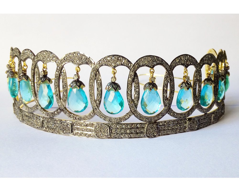 Truly incredible Pave Rose Cut Diamond Tiara - Wedding Rose Cut Diamond Crown - 925 Sterling Silver Tiara Crown - Diamond 925 Silver Tiara - Handmade Tiara - Hair Jewelry