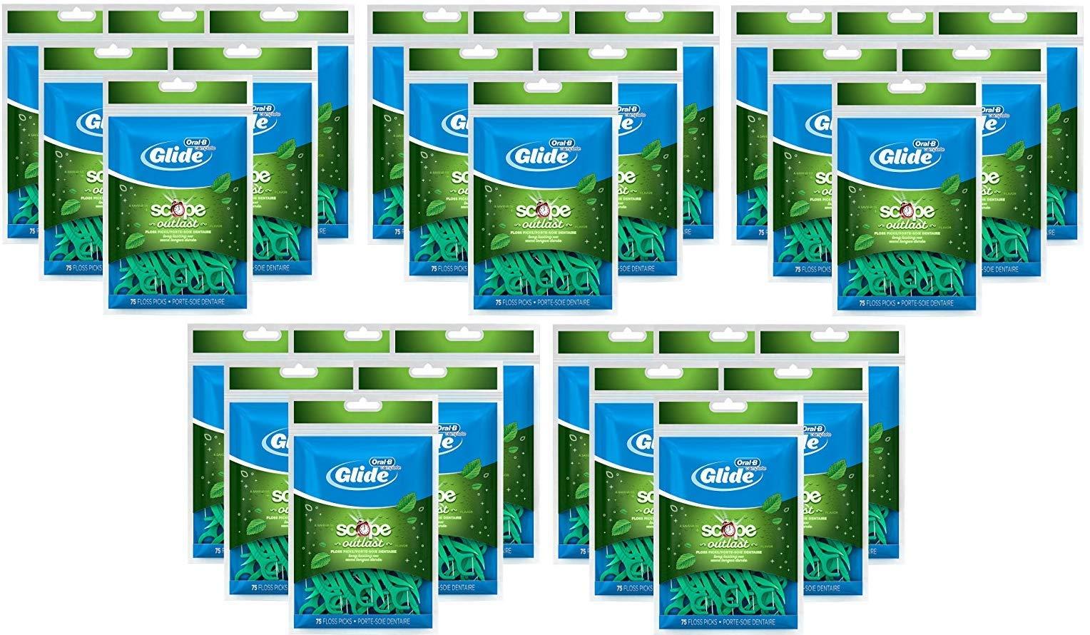 Oral-B Complete Glide Dental Floss Picks Plus Scope Outlast, Long Lasting Mint, 75 Dental Floss Picks, (30-Pack)