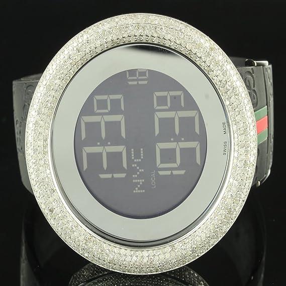 5 Carat diamante bisel Digital 2 zona horaria auténtico I GUCCI silicona banda reloj: Amazon.es: Relojes