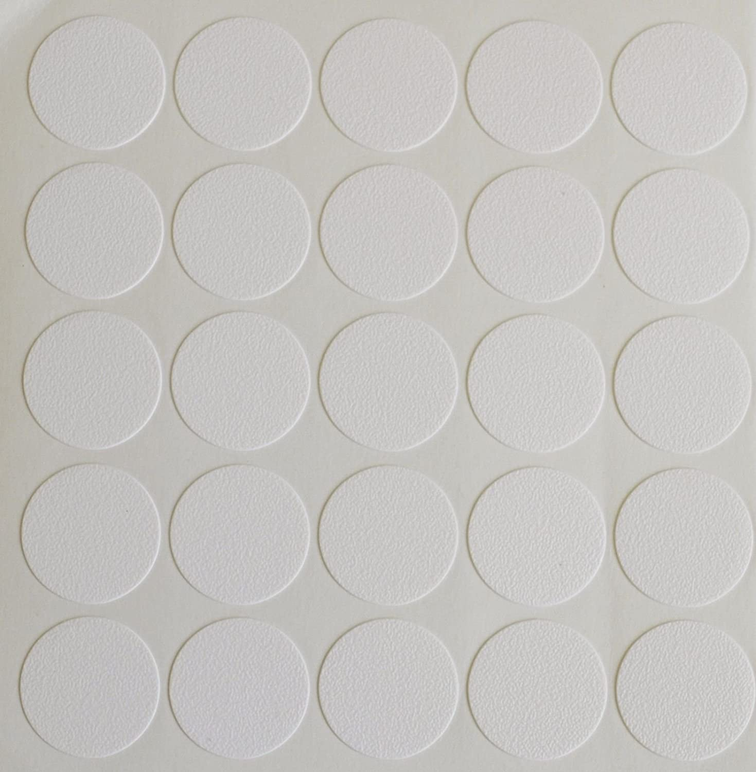 Sheets of 25 x 18MM SELF Adhesive CAM Screw Hole Cover Cap White Furniture Cabinet Bookcase 15