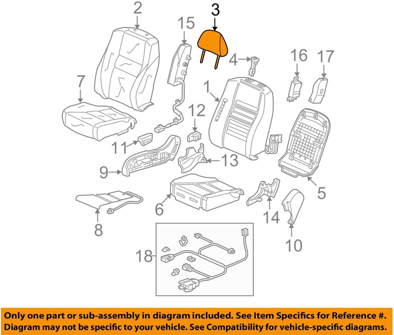 Honda Genuine 81140-TE0-A22ZA Headrest Assembly Graphite Black Front