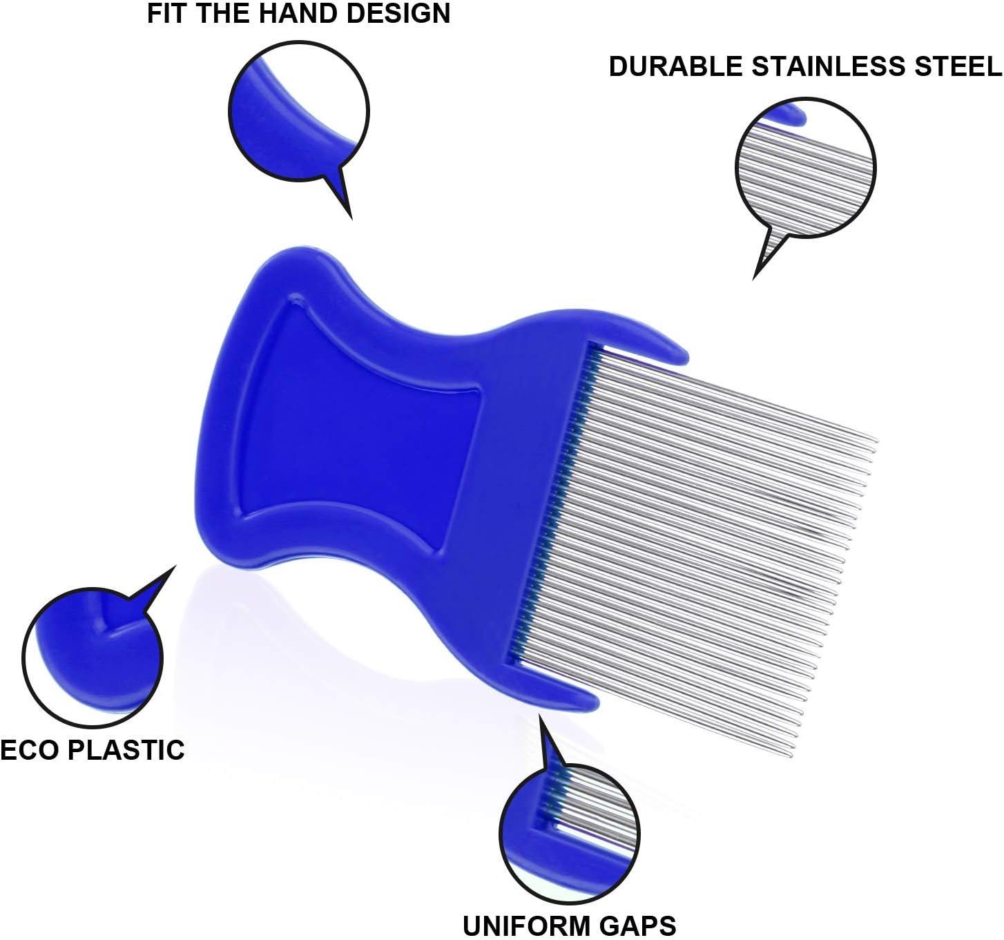 Peines para eliminar los piojos, peine para piojos 6 piezas, incluye dientes de metal 3 piezas, dientes de doble cara de 3 piezas para el aseo y eliminación de escamas o piojos