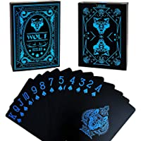 Acelion Waterproof Plastic Playing Cards, Black Deck of Cards, Gift Poker Cards (Blue Wolf Cards)