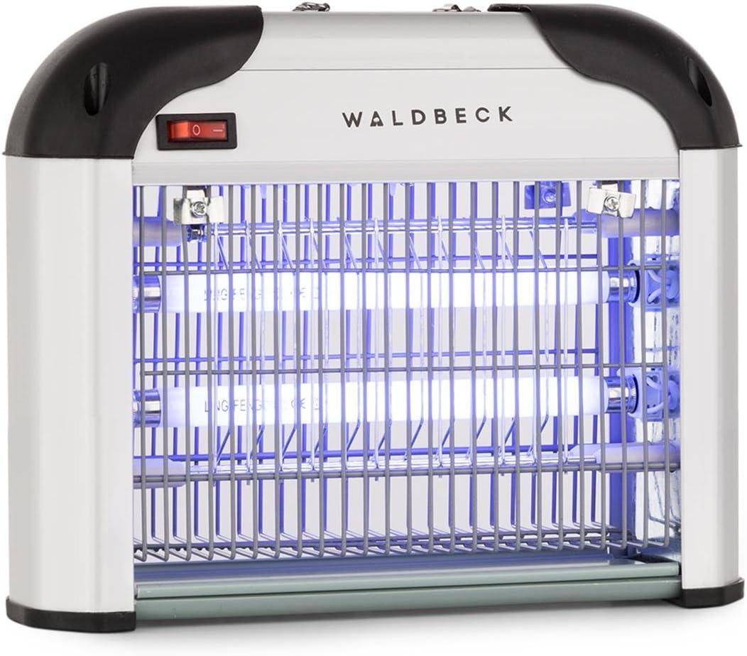 Waldbeck Mosquito Ex 3000 Lámpara insecticida - Atrapa Insectos UV, Repelente de Mosquitos, Sin químicos tóxicos, Inodoro y silencioso, 16 W, Efecto 40 m², Dispositivo de suspensión, Plateado