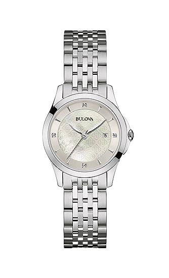 Bulova Diamond 96S160 - Reloj de Pulsera de diseño para Mujer - Acero Inoxidable - Esfera de nácar: Amazon.es: Relojes