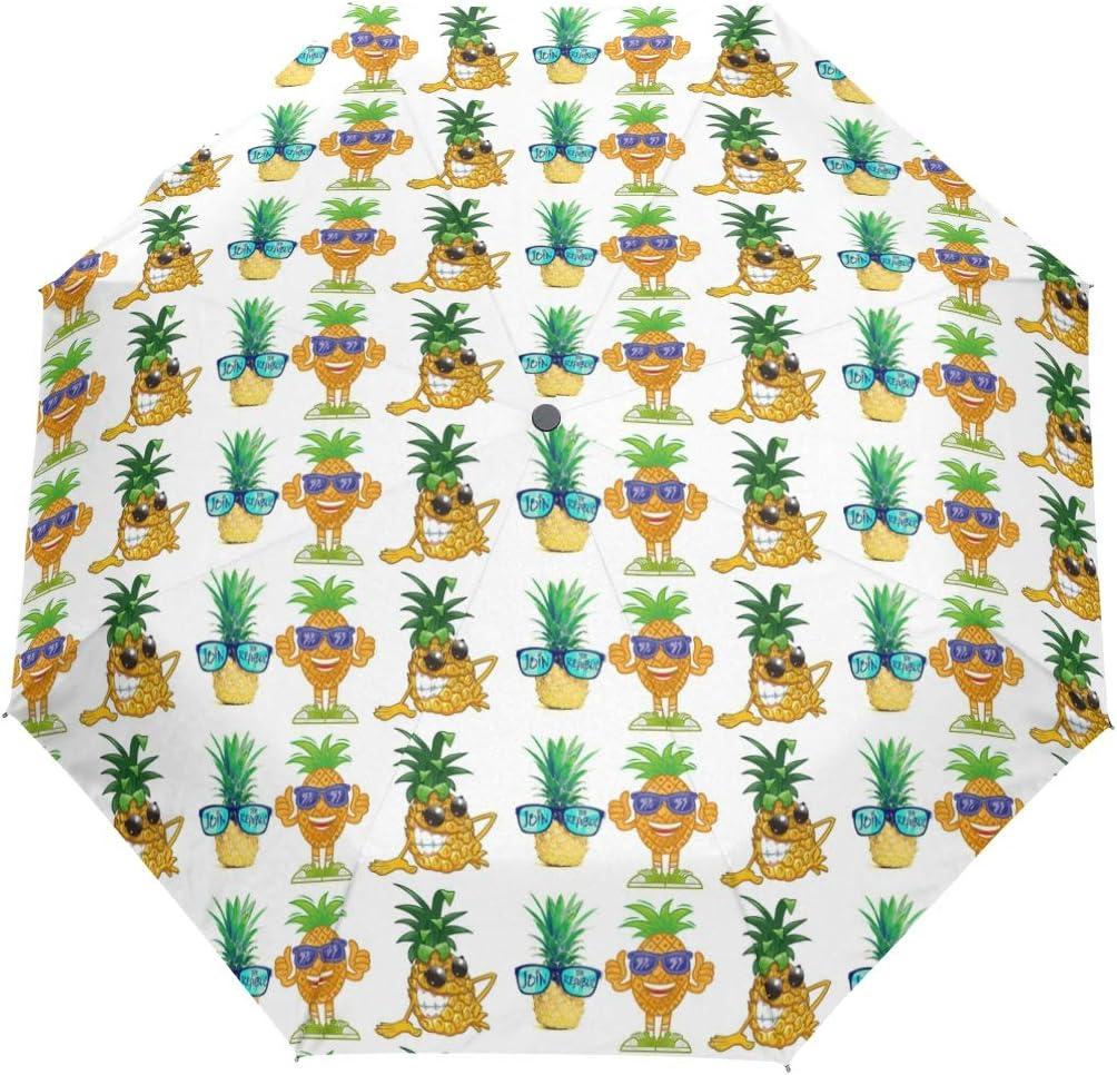 Gold Pineapple Fashion Sunglasses fashion print cute Windproof automatic tri-fold umbrella sun UV protection Sun umbrella