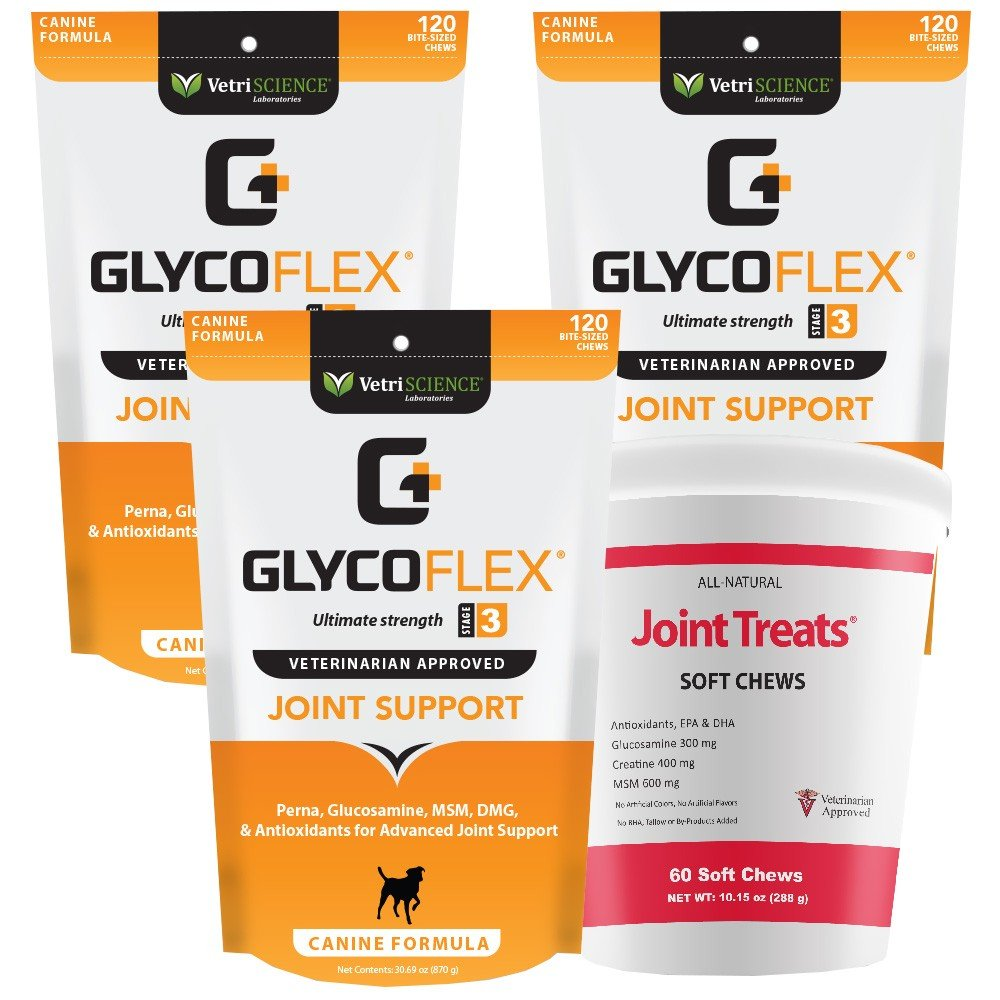 3PACK GlycoFlex 3 Canine (360 Soft Chews) + FREE Joint Treats