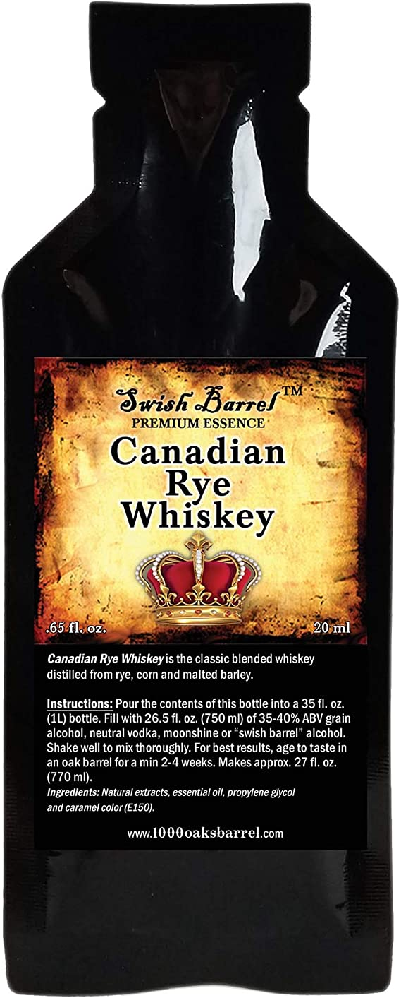 Canadian Rye Whisky Premium Essence | Bootleg Kit Refills | Thousand Oaks Barrel Co. | Gourmet Flavor for Cocktails Mixers and Cooking | 20ml .65oz Packet
