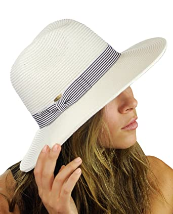 2fb9d12c NYFASHION101 Striped Ribbon Band Teardrop Dent Panama Fedora Sun Hat -  White at Amazon Women's Clothing store: