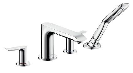 Hansgrohe 31442000 Metris Grifo de 4 agujeros para borde de bañera Plata