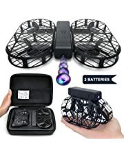 Dwi Dowellin WiFi FPV Drone with 720P HD Camera Foldable Crash Proof RC Quadcopter One Key Take Off Flips Rolls Drones for Kids Children Beginners, Comes with Carrying Case and 2pcs Batteries