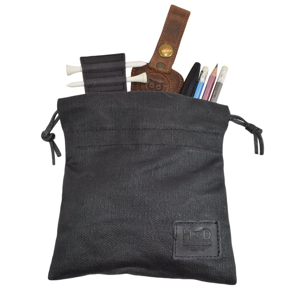 Hide & Drink Waxed Canvas Golf Valuables Field/Travel/Tech/Board Game Dice Pouch Handmade by Charcoal Black