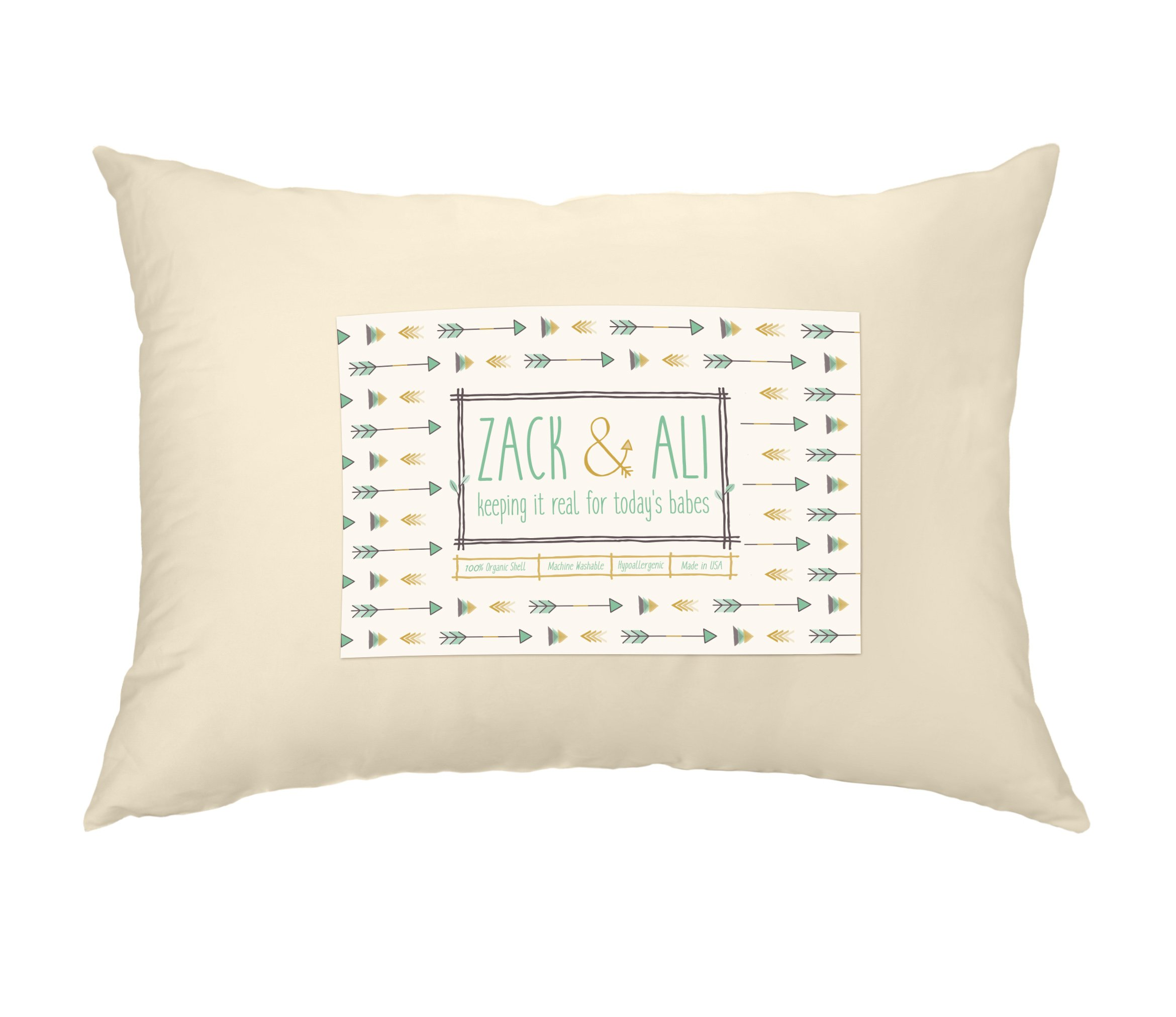 Zack & Ali Toddler Pillow, Soft 100% Organic Cotton, 13 x 18, Made in USA by Zack & Ali